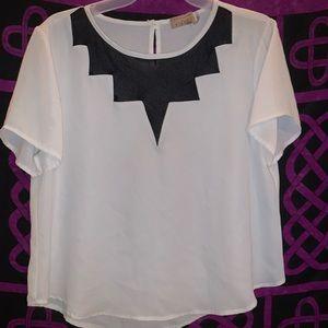 White and black chiffon dressy blouse